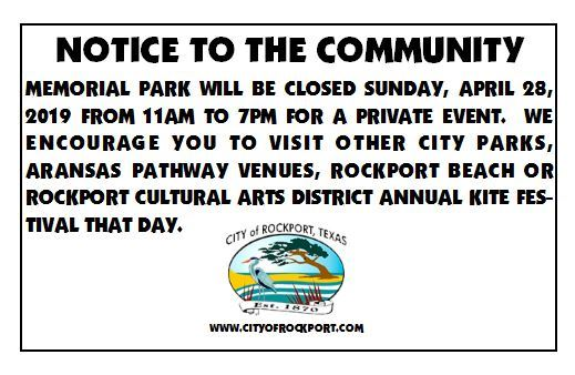 Memorial Park closed on April 28