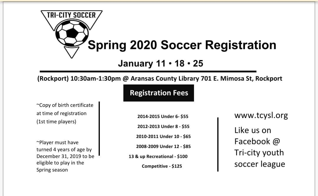 Soccer Registration Schedule 2020