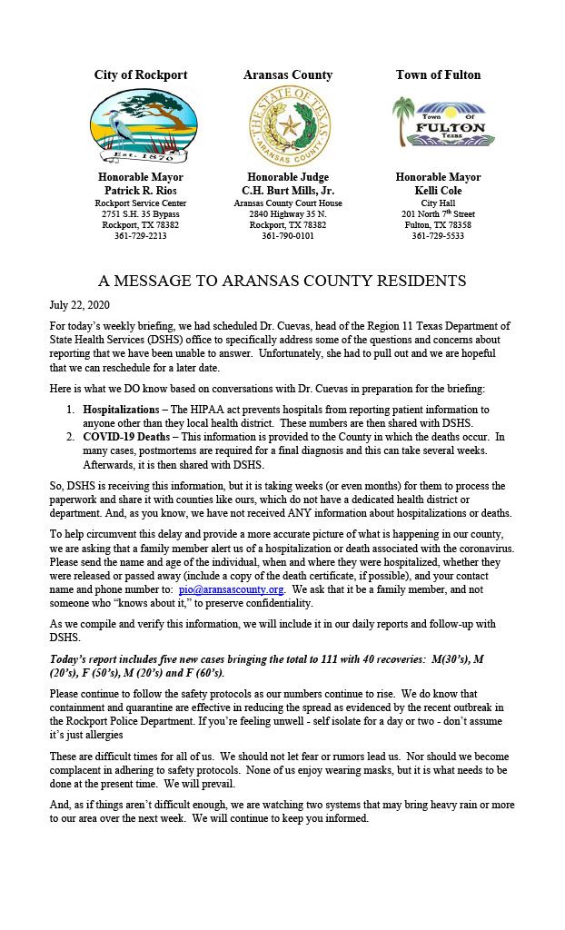 Message from Aransas County 13